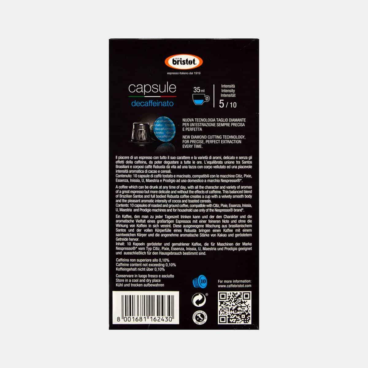 Bristot Blue Decaffeinato Espresso Capsules