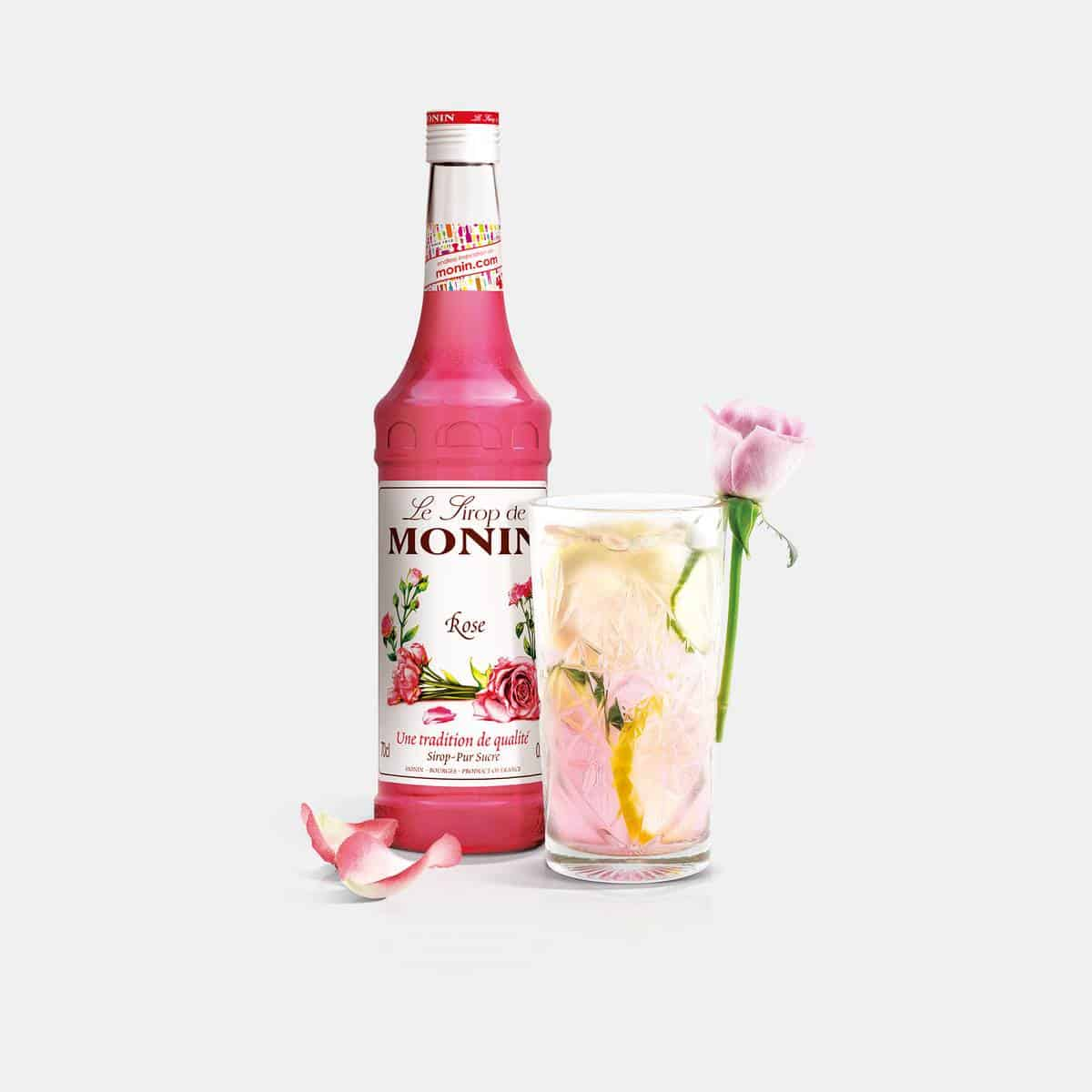 Monin 700ml Rose Syrup Glass Bottle with Drink