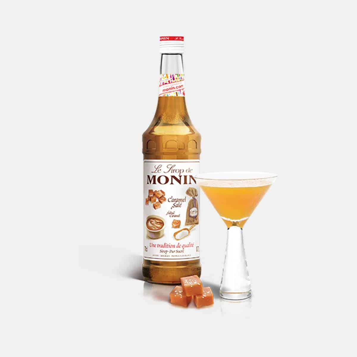 Monin 700ml Salted Caramel Syrup Glass Bottle with Cocktail Drink