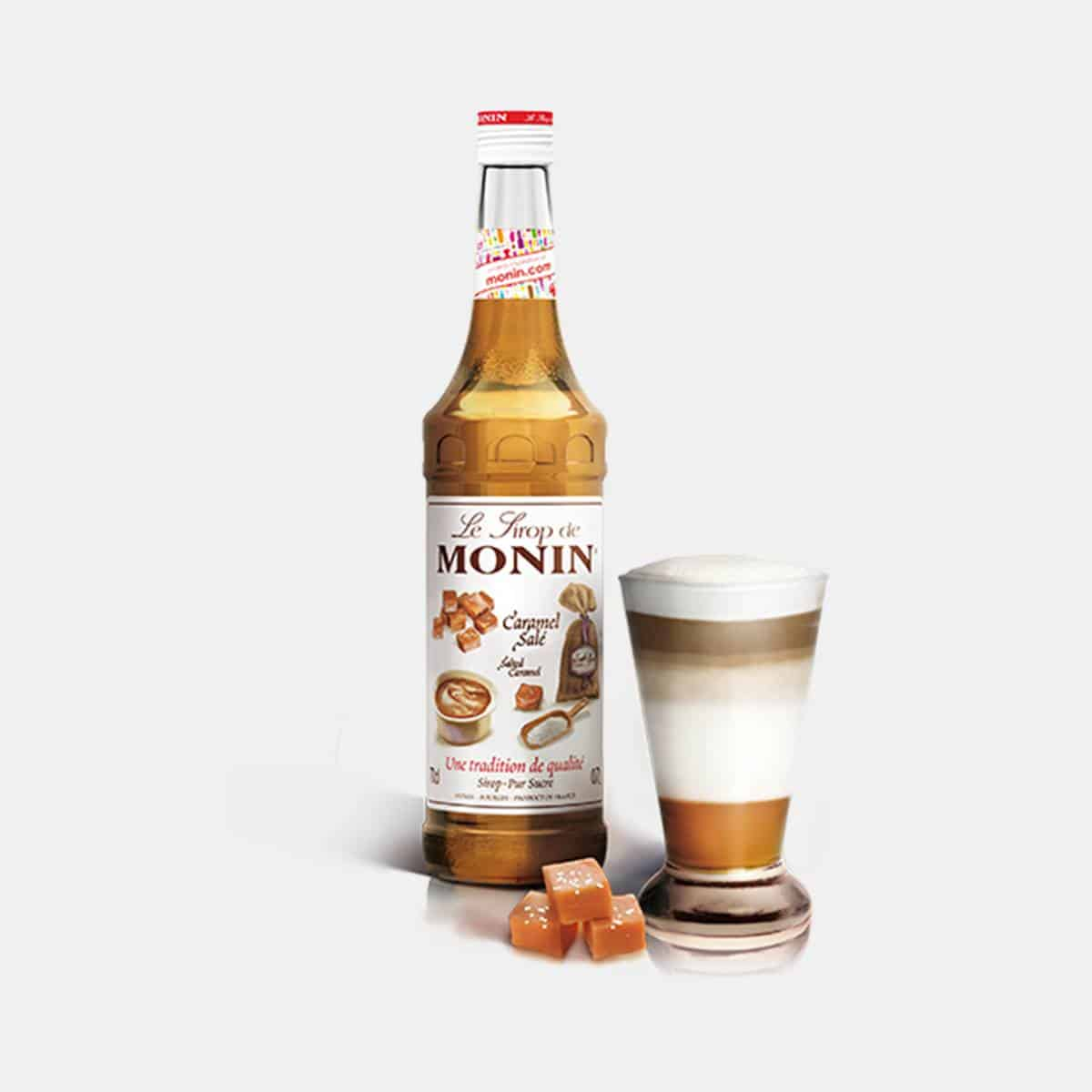 Monin 700ml Salted Caramel Syrup Glass Bottle with Drink