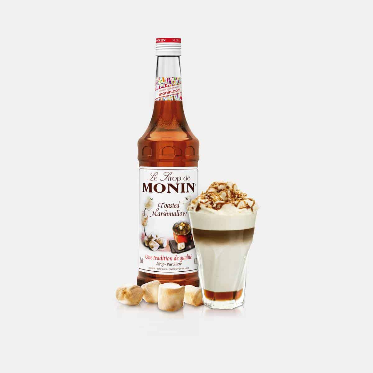 Monin 700ml Glass Bottle of Toasted_Marshmellow Syrup with Drink