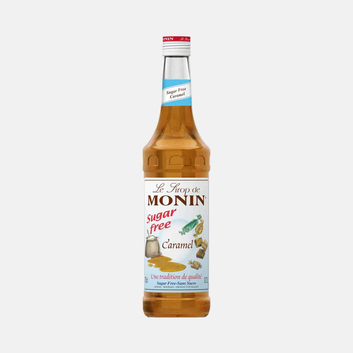 Monin Sugar Free Caramel Syrup 700ml Glass Bottle