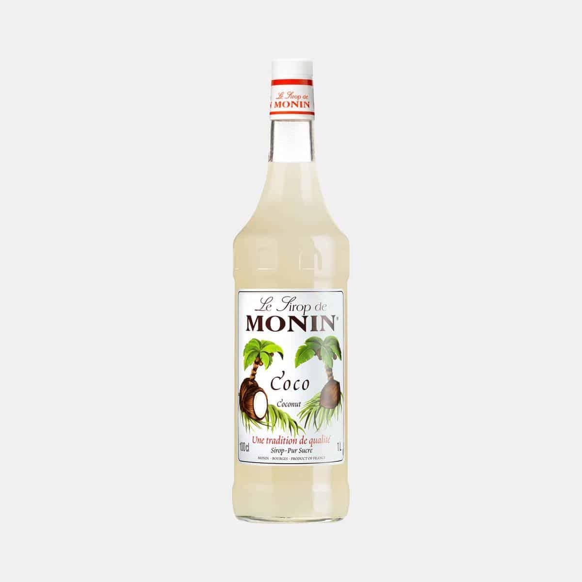 Monin Coconut Syrup 1 Liter Glass Bottle