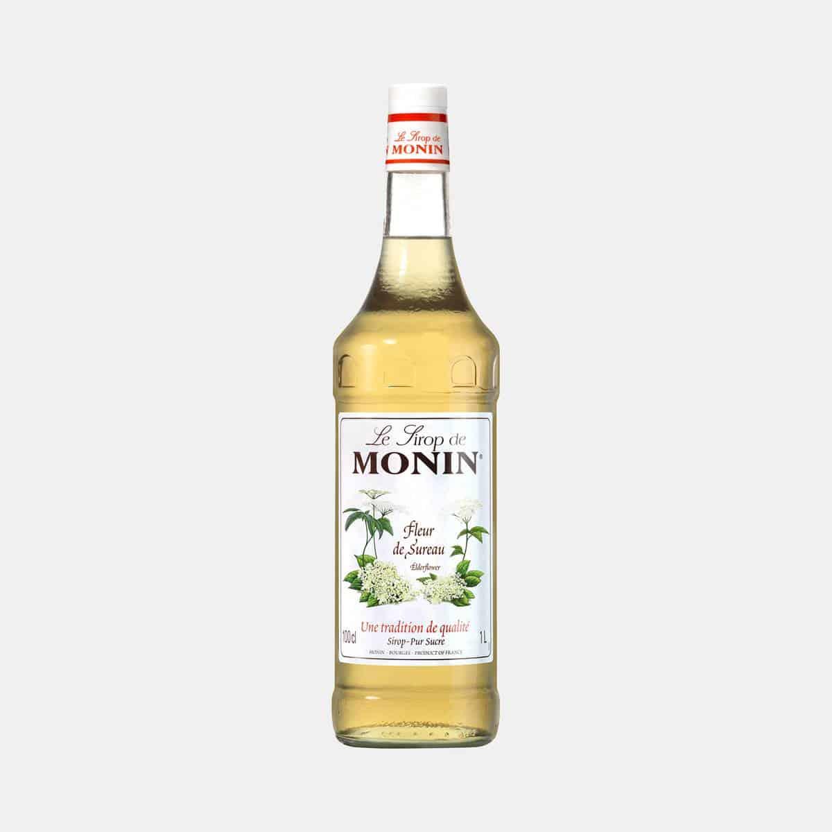 Monin Elderflower Syrup 1 Liter Glass Bottle