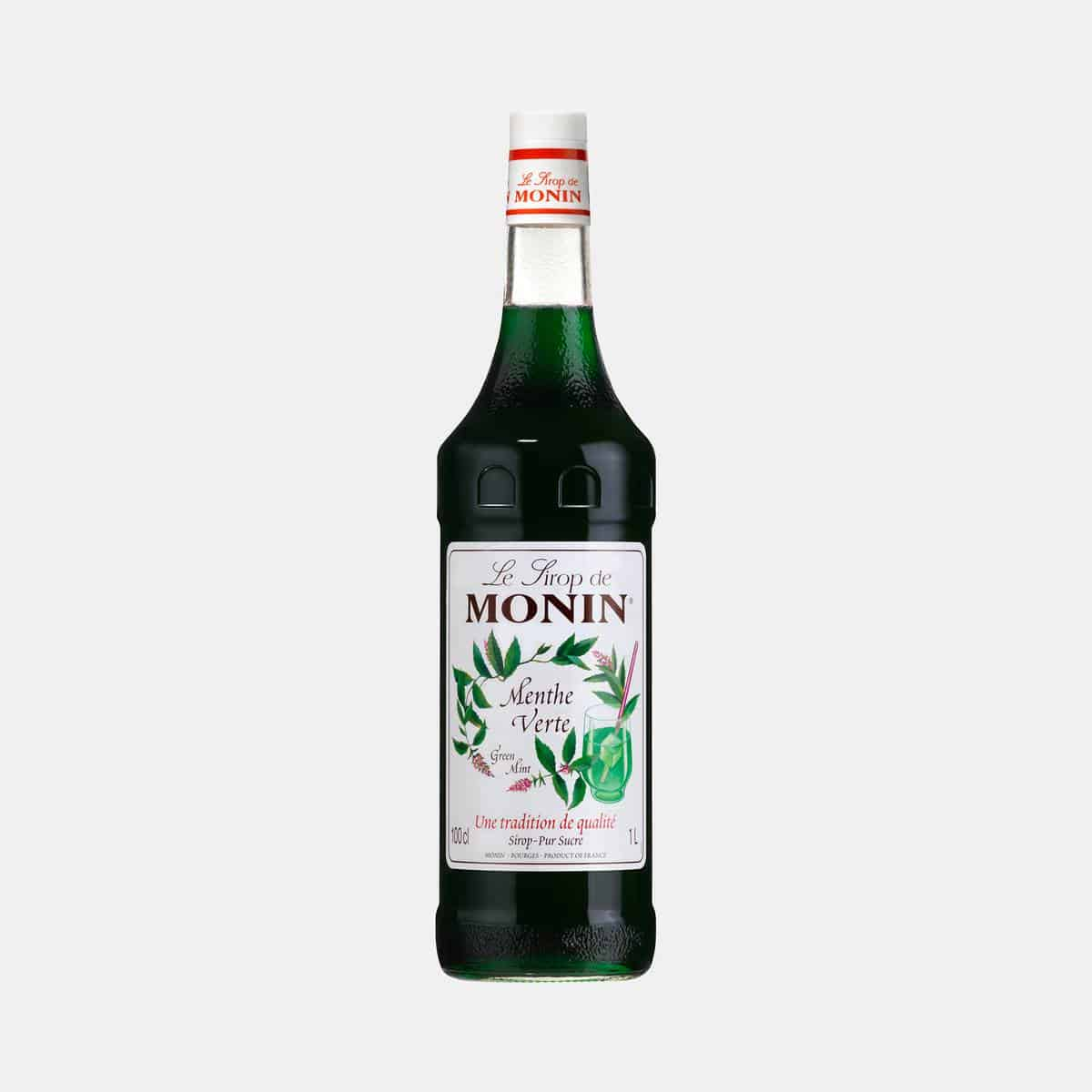 Monin Green Mint Syrup 1 Liter Glass Bottle