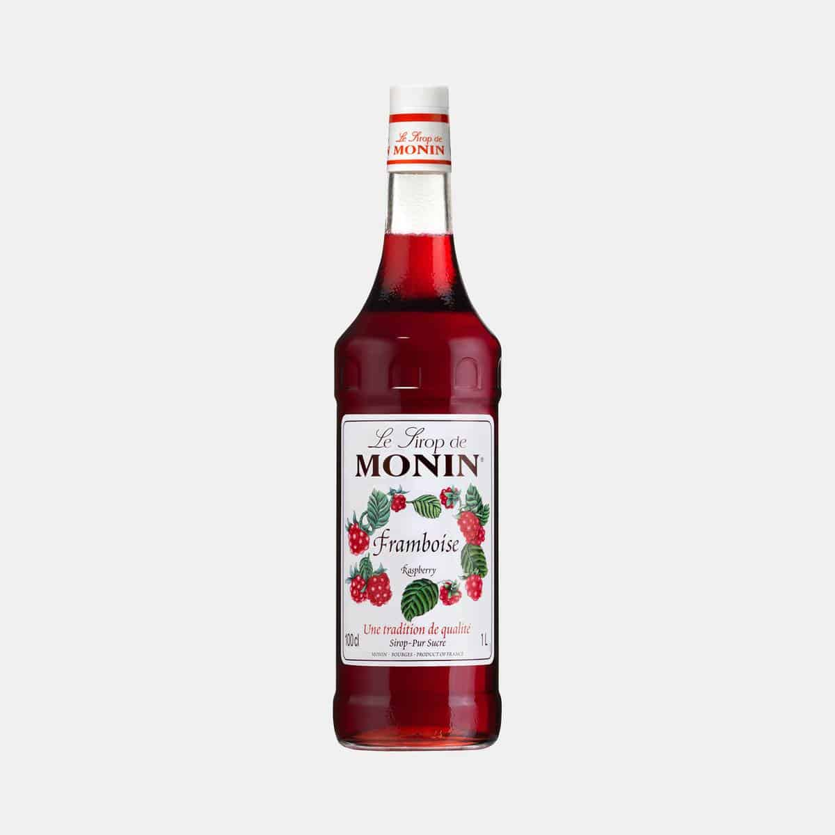 Monin Raspberry Syrup 1 Liter Glass Bottle