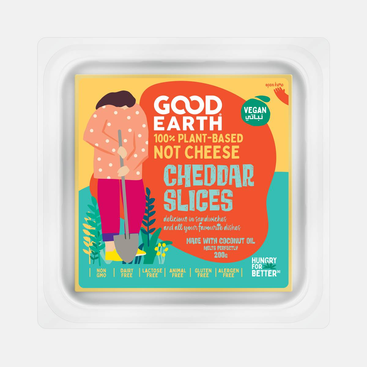 Good Earth Plant-Based Cheddar Slices 200 grams Front