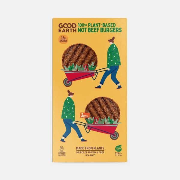 Good Earth Not Beef Burgers 226g Pack Front Shot