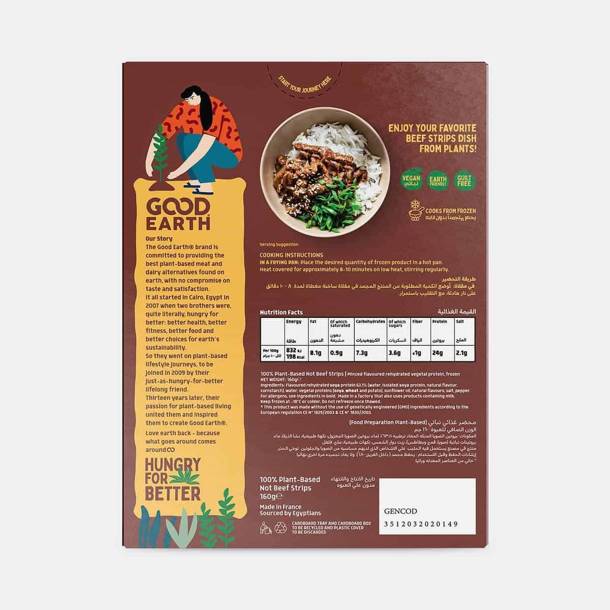 Good Earth Not Beef Strips 160g Pack Back Shot