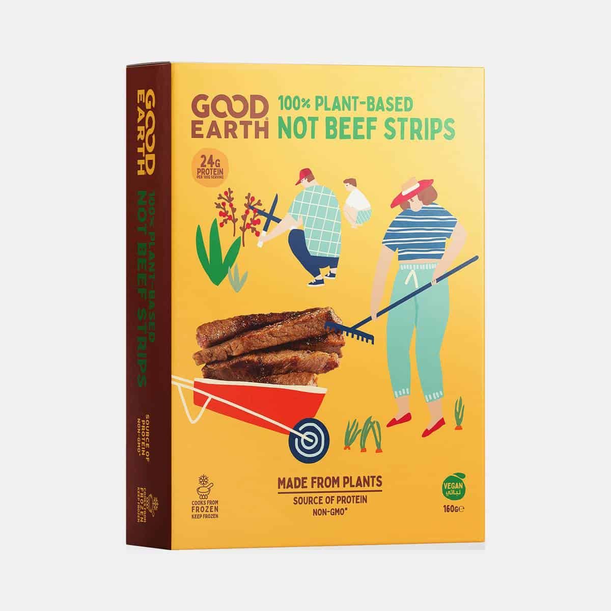 Good Earth Not Beef Strips 160g Pack Perspective Shot