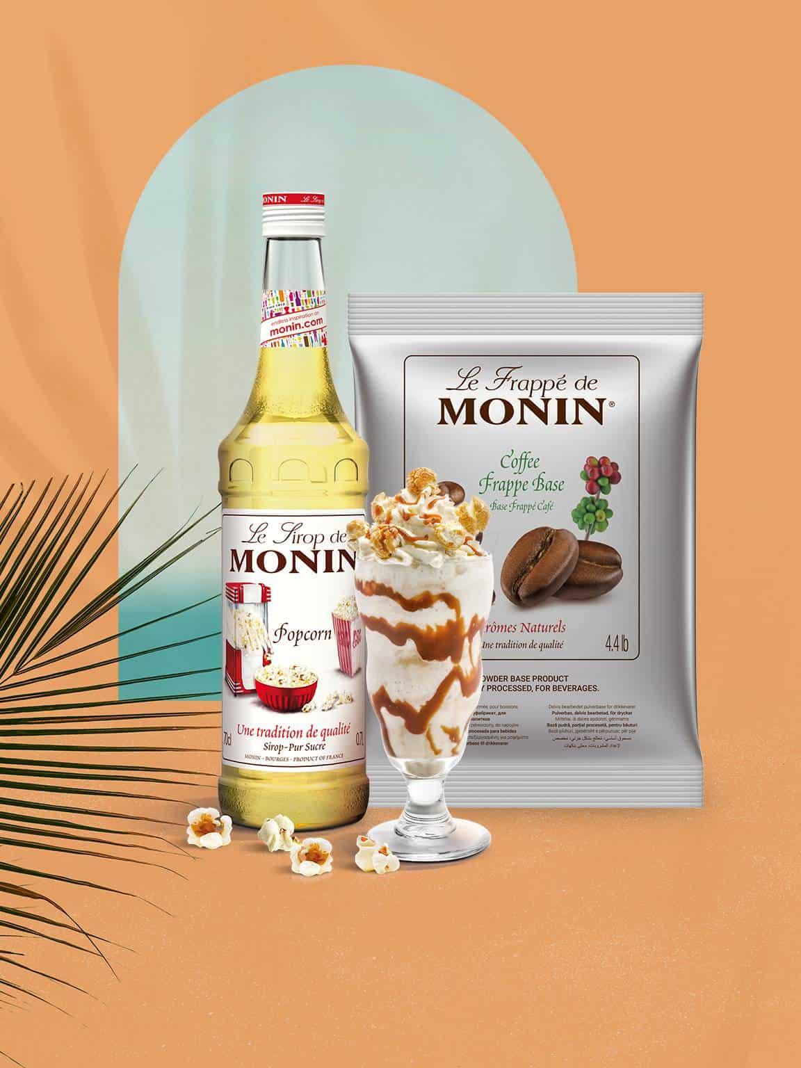 Monin Coffee Frappe and Popcorn Syrup Bundle