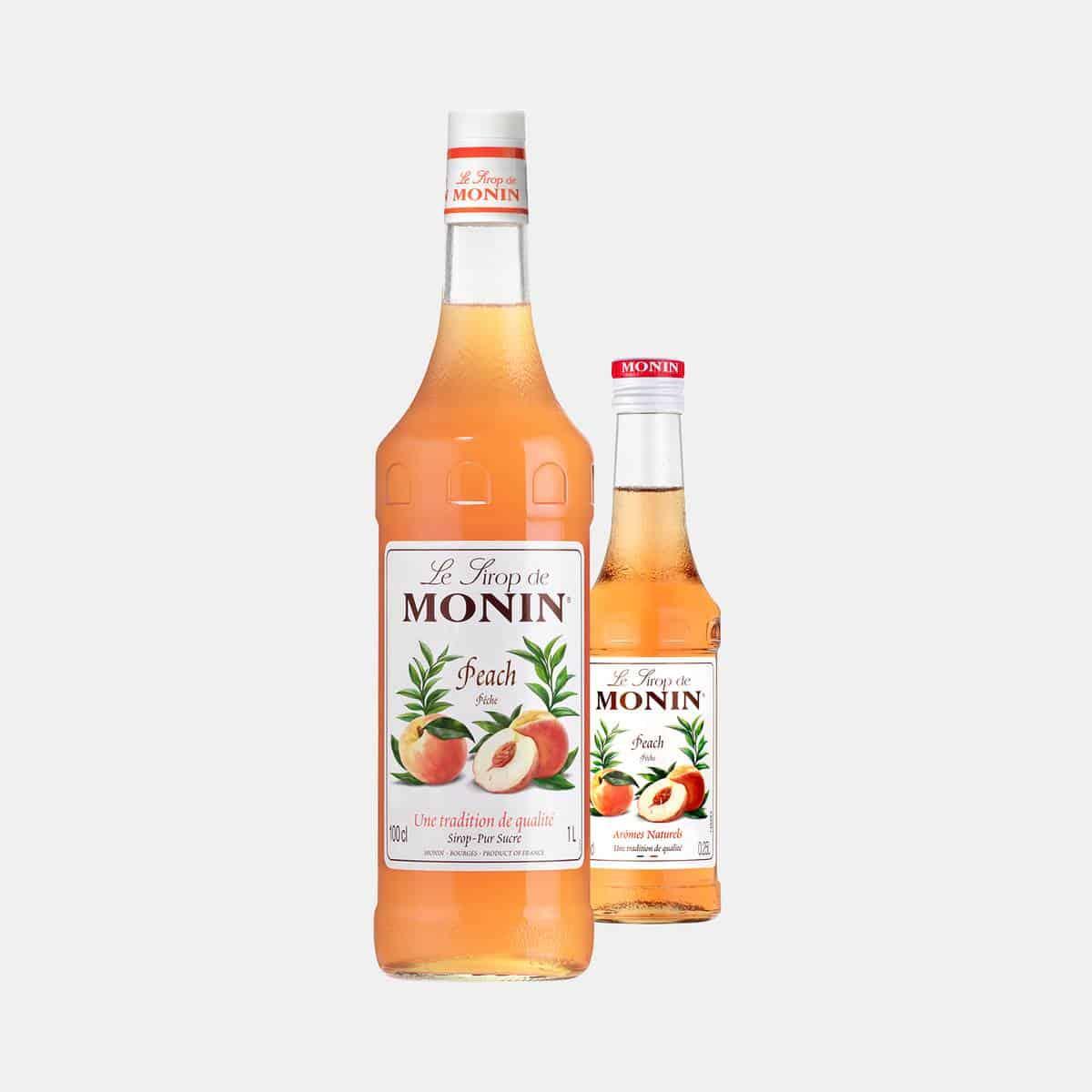 Monin Peach Syrup Glass Bottles