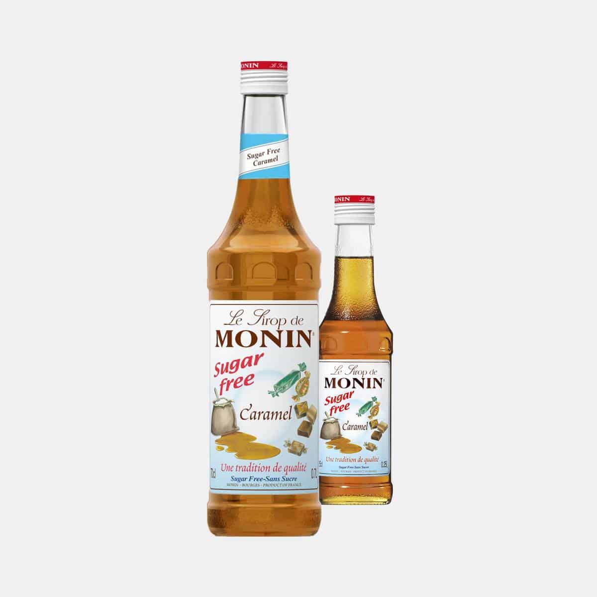 MONIN Sugar Free Caramel Syrup Glass Bottles