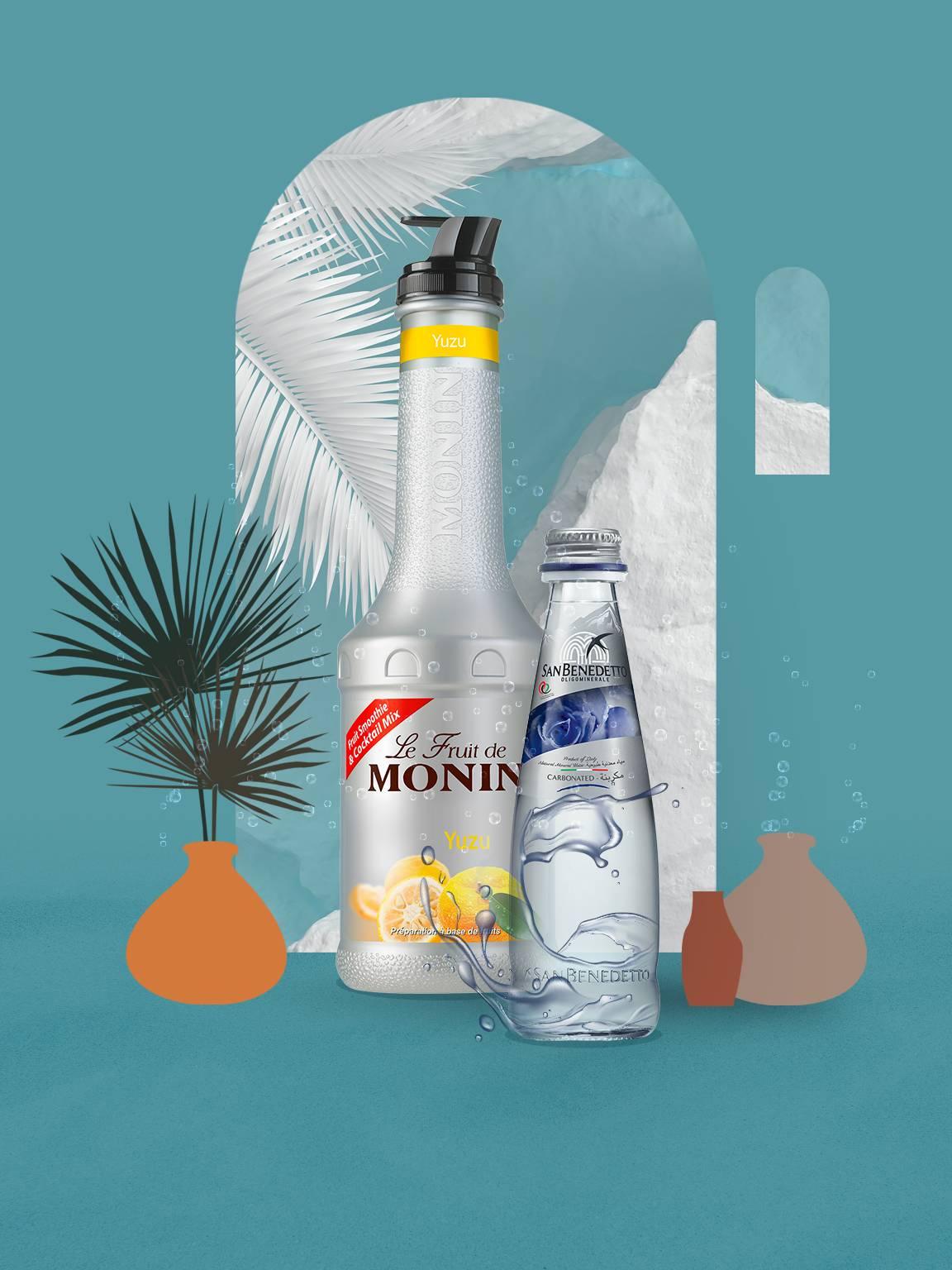 San Benedetto Sparkling Water and Monin Yuzu Puree Bundle